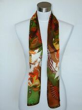 New 100% Silk Oblong Scarf Art Painting Horses Brown