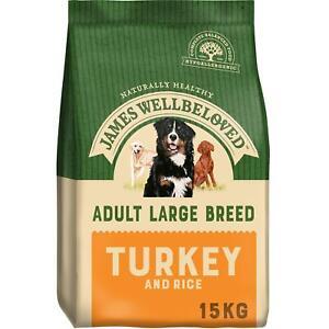 15kg James Wellbeloved Adult Dry Dog Food - Turkey & Rice - Best Before 4/8/21