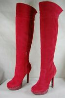 SUPER SEXY!!! BETSEY JOHNSON SPIKE RED LEATHER SUEDE OVER THE KNEE BOOTS 8.5