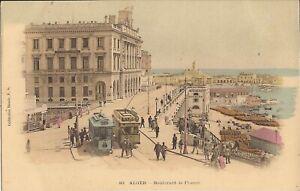 Algiers, ALGERIA - Boulevard de France - HANDTINTED trollies, piers, cargo, Arab