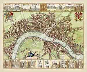 antique 17th century Mary Stuart LONDON guide map W Hollar 1688 art print poster