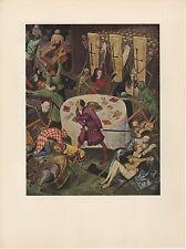 "1954 Vintage Full Color Art Plate ""DETAIL o/t TRIUMPH OF DEATH"" #3 Bruegel Litho"