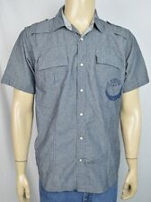 Ed Hardy Gray Embellished Pearl Snap S/S Shirt Men's Sz Large Panther Squadron