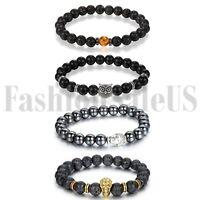 8mm Men's Women's Lava Buddha Beaded Owl Lucky Energy Wrist Mala Bracelets 4pcs