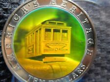 Liberia 10 Dollars 2002, Neusilber mit Hologramm- Cable-Car in San Francisco