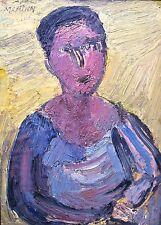 Richard Mandin, Portrait, huile sur carton, 1966, peintre de Marseille (v)