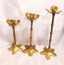 Vintage Of 3 Matching  Various Size Brass Candlesticks with a Flower Design