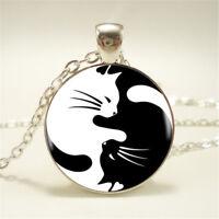 Fashion Cute Yin Yang Cat Pendant Choker Silver Necklace Jewelry Creative Gift