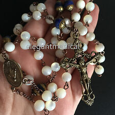 Vintage Mother of Pearl & Lapis lazuli Rosary Beads necklace bronze Cross gifts