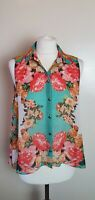 TOPSHOP Ladies Size 12 Green Floral Sleeveless Collared Blouse Top C3