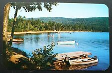1950s Docks and Small Boats on Limekiln Lake, Inlet in the Adirondack Mts. NY