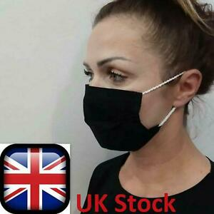 COMFORTABLE Soft BLACK Profiled Face Mask Reusable Washable Unisex HANDMADE Lot