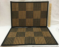 Placemats Bamboo Wood Natural Tan w/ Black Fabric Woven Basket Weave Set 2