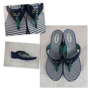 Clarks Navy Green Tassle Flip Flop Wedge Sandals - Sz 11