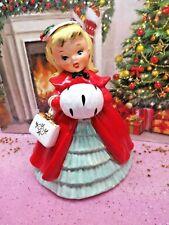 Vtg 1956 NAPCO Holly Berry Christmas Shopper Girl W Purse Ermine MUFF AX2193A