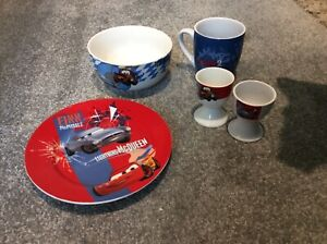 Child's Disney Cars Ceramic Plate/bowl/cup/egg cups Dinner Breakfast Set 5 piece