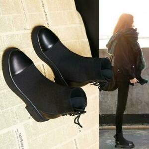 Womens Ladies Chelsea Ankle Boots Knitted Sock Stretch Pull On Casual Flat Shoes