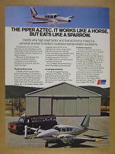 1975 Piper Aztec airplane & Gulf fuel truck photo vintage print Ad