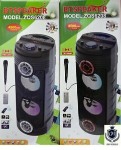 Portable Bluetooth BT Speaker (ZQS-6208) With Wired Microphone Free Postage .