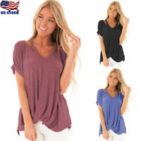 US Summer Womens Cold Shoulder Knot Twist Blouse Casual Short Sleeve T-shirt Top