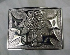 Scottish Thistle Knot Work Belt Buckle Silver Finish/Thistle Buckle for Kilts