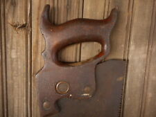 Warranted Superior Antique Carpenters Hand Saw Vintage Wood Handle AS IS