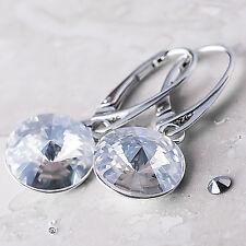 925 Sterling Silver Dangle Earrings Vitrail Light 12mm Crystals From Swarovski®