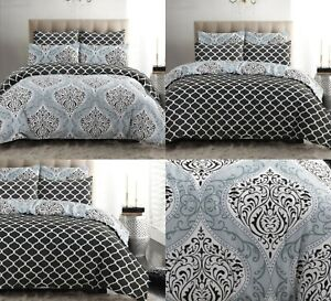 Grey Duvet Cover Set Pillow Cases 100% Cotton Double King All Size Quilt Bedding
