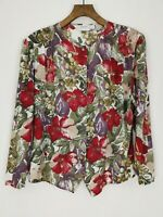 Vintage | St Michael | Button Down Long Sleeve Blouse | Size 14 | Floral | Green