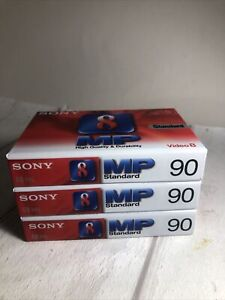 3 X Sony 8mm video 8 cassette tape MP Standard 90 minutes PAL