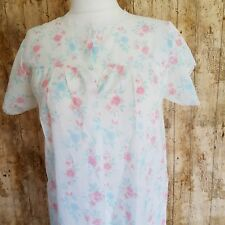 Vintage White Pink Floral Cotton Mix Short Sleeve Nightdress Lace Trim 12 - 14