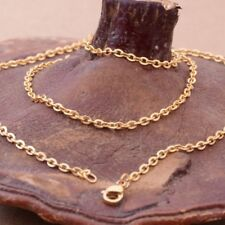"""20"""" 2.4mm Women Men's Chain Gold Tone Stainless Steel Cross Link Necklace Hot"""