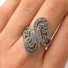 Bypass Design Ring Size 6 3/4 925 Sterling Silver Vintage Real Marcasite Gem