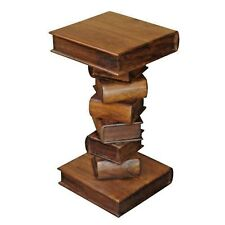 SQUARE BOOK BEDSIDE TABLE LAMP/PLANT STAND H:70CM LISBON RANGE ACACIA WOOD