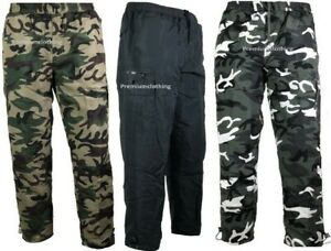 Mens Camo Thermal Lined Army Pattern Trousers pants Fleece Bottoms Camouflage