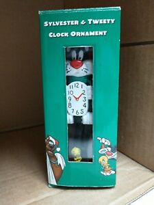 Sylvester & Tweety Clock Ornament 1998 Warner Bros Studio Store Movable Tail