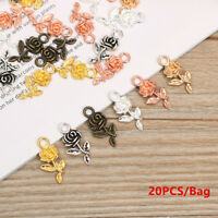 DIY Tibet Silver  Bracelet Beads Necklace Pendant Rose Flower  Small Charm