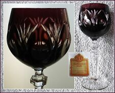 AMETHYST Wine Goblet Glass Hock CUT TO CLEAR CRYSTAL Germany Katharinen-Huette