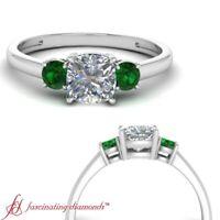 3/4 Carat Cushion Cut Diamond And Emerald Gemstone Engagement Ring Three Stone