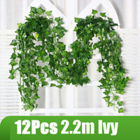 12Pcs 2.2M Artificial Ivy Leaf Trailing Vine Fake Foliage Hanging Garland Decor
