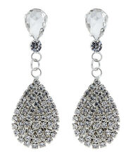 Clip On Earrings - silver plated earring with a clear crystal teardrop - Enya