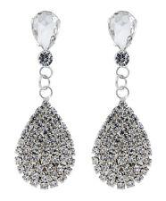 CLIP ON EARRINGS - silver plated crystal teardrop chandelier earring - Enya