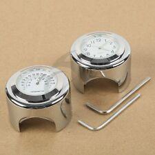 """7/8"""" 1"""" Motorcycle Handlebar Dial Clock Temp Thermometer For Harley Honda Yamaha"""