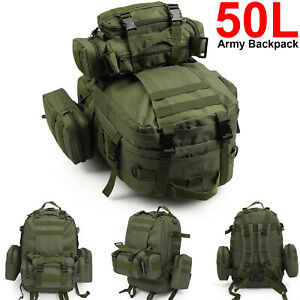 50L Outdoor Military Tactical Army Backpack Rucksack Camping Trekking Hiking Bag