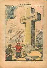 Caricature Politique Anti-nazi/Communiste Croix Christianisme 1937 ILLUSTRATION