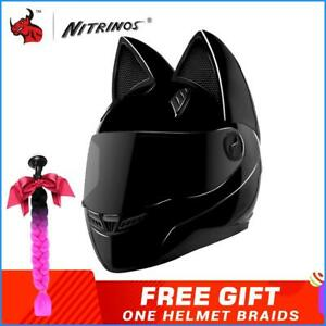 Motorcycle Helmet Ears Cat Women Motocross Full Face Helmet Dark Flip Up Visor