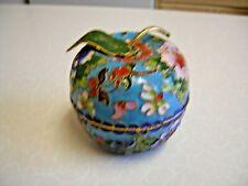 Vintage Enamelled Brass Apple Shaped Trinket Pot (2252)