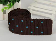 Men's Dark Brown Blue Polka Dot Knit Tie Necktie Narrow Slim Skinny Wove ZZLD353