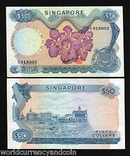 SINGAPORE 50 DOLLARS P5B 1970 BOAT ORCHID GKS RARE SIGN aUNC CURRENCY MONEY NOTE