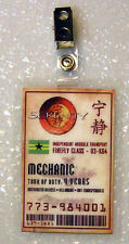Serenity/Firefly Id Badge-Mechanic cosplay costume prop